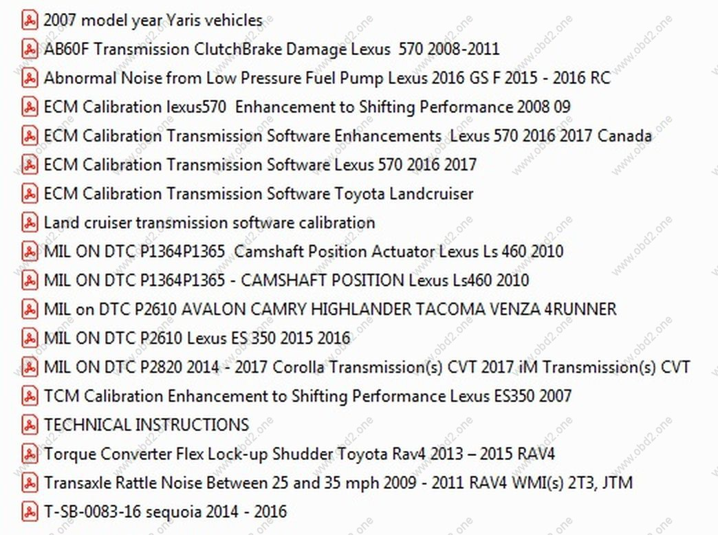 Toyota lexus calibration guides